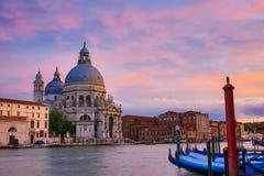 Venice, Italy. Grand Canal and Basilica Santa Maria della Salute at sunset, Venice, Italy Stock Images