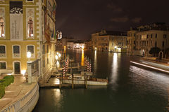 Venice, Italy. Grand Canal at night. Night view of grand canals in Venice Royalty Free Stock Photo