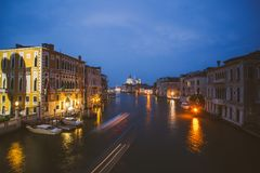 Venice, Italy. Grand Canal from Rialto bridge at twilight. Royalty Free Stock Image