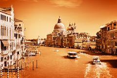 Venice, Italy. Grand Canal and the Salute basilica Stock Photography