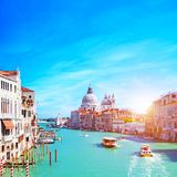 Venice, Italy. Grand Canal and the Salute Stock Photos