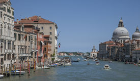 Venice, Italy - the Grand Canal with some boats. Royalty Free Stock Images