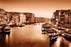 Venice, Italy. Grand Canal at sunset. Vintage Royalty Free Stock Photos