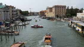 Venice Italy Grand Canal Transport Routes, view from the Bridge. VENICE, ITALY, SEPTEMBER 7, 2017: Venice Italy Grand Canal Transport Routes, view from the stock video