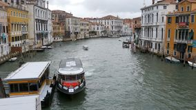 Venice Italy Grand Canal Transport Routes, View from the Bridge. VENICE, ITALY, SEPTEMBER 7, 2017: Venice Italy Grand Canal Transport Routes, View from the stock video footage