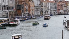 Venice Italy Grand Canal Transport Routes, View from the Rialto Bridge. VENICE, ITALY, SEPTEMBER 7, 2017: Venice Italy Grand Canal Transport Routes, View from stock footage