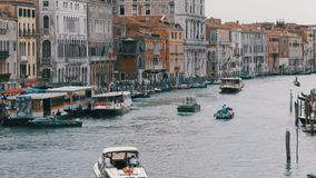 Venice Italy Grand Canal Transport Routes, View from the Rialto Bridge. VENICE, ITALY, SEPTEMBER 7, 2017: Venice Italy Grand Canal Transport Routes, View from stock video footage