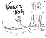 Venice Italy Hand Drawn Sketch Doodle Gondolier and lettering handwritten sign, grunge calligraphic text. Vector illustration.  Stock Images