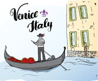 Venice Italy Hand Drawn Sketch Doodle Gondolier and lettering handwritten sign, grunge calligraphic text. Vector illustration.  Royalty Free Stock Images