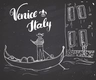 Venice Italy Hand Drawn Sketch Doodle Gondolier and lettering handwritten sign, grunge calligraphic text. Vector illustration on c. Halkboard background Stock Images