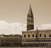 VENICE Italy Campanile of Saint Mark and Ducal Palace with sepia Stock Image