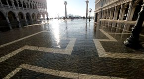 Venice Italy high tide in saint mark square and doge s palace Royalty Free Stock Image