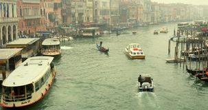 VENICE, ITALY - January 2014: boats traveling on Grand Canal stock video