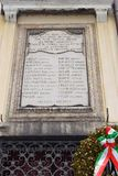 Memorial plaque in the jewish ghetto of Venice. Venice, Italy - January 30, 2019: memorial plaque with the names of the inhabitants of the jewish ghetto of royalty free stock images