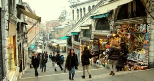 VENICE, ITALY - January 2014: people and shops stock footage