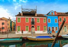 Colorful houses in Burano island. VENICE, ITALY - JANUARY 06, 2018: View on the colorful houses in Burano island, during winter days, Venice, Italy Royalty Free Stock Photos