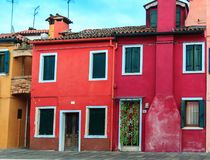 Colorful houses in Burano island. VENICE, ITALY - JANUARY 06, 2018: View on the colorful houses in Burano island, during winter days, Venice, Italy Royalty Free Stock Image
