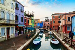 Colorful houses in Burano island. VENICE, ITALY - JANUARY 06, 2018: View on the colorful houses in Burano island, during winter days, Venice, Italy Stock Images