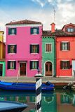 Colorful houses in Burano island. VENICE, ITALY - JANUARY 06, 2018: View on the colorful houses in Burano island, during winter days, Venice, Italy Stock Image
