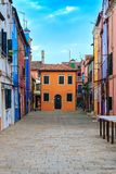 Colorful houses in Burano island. VENICE, ITALY - JANUARY 06, 2018: View on the colorful houses in Burano island, during winter days, Venice, Italy Royalty Free Stock Images