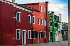 Colorful houses in Burano island. VENICE, ITALY - JANUARY 06, 2018: View on the colorful houses in Burano island, during winter days, Venice, Italy Stock Photography