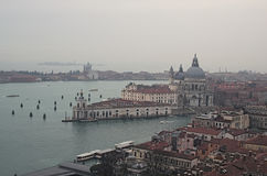 VENICE, ITALY. JANUARY 05, 2016 - View to Cathedral of Santa Maria della Salute from the tower of the Cathedral of St. Mark. Stock Images