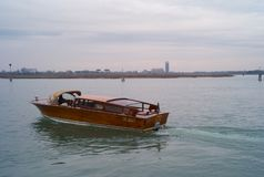 A Watertaxi in the Lagoon of Venice royalty free stock photography