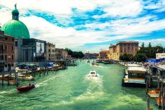 Beautiful panoramic view over the famous Grand canal in Venice royalty free stock photo