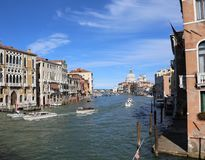 Venice, Italy - July 14, 2016: Grand Canal called Canal Grande i. N Italian language and many boats and taxi royalty free stock photography