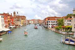 Venice. ITALY - JULY 30, 2014: The Grand Canal at the cloudy day Royalty Free Stock Image