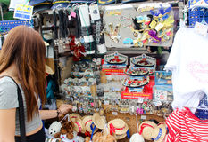 Venice, Italy - July 25, 2016: Tourist a woman in the gift shop. Tourist a woman in the gift shop stock photo