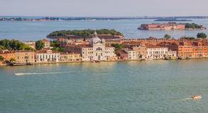 Venice, Italy - June 27, 2014: Aerial view on Guidecca district of Venice from St. Mark's Campanile Stock Photos