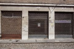 VENICE, ITALY, JUNE 2017. Facade of one of many closed retail stores in the city center due to the opening of large. VALENCE, FRANCE, JUNE 2016. Facade of one of Stock Image