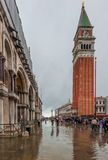 VENICE, ITALY - June, 07: Flood in Venice, acqua alta on Piazza Royalty Free Stock Image