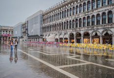 VENICE, ITALY - June, 07: Flood in Venice, acqua alta on Piazza Stock Photos