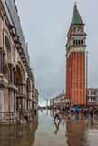 VENICE, ITALY - June, 07: Flood in Venice, acqua alta on Piazza Stock Photo