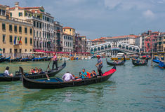 VENICE, ITALY - June, 09: Gondolas at Grand Canal in Venice Stock Images