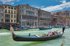 VENICE, ITALY - June, 09: Gondolas at Grand Canal in Venice, Ita Stock Image