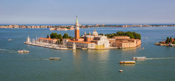 Venice, Italy - June 27, 2014: Panoramic view from St. Mark's Campanile on island and church of San Giorgio Maggiore Stock Photo