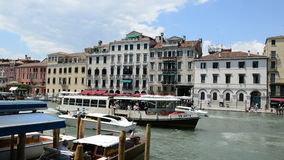 VENICE, ITALY - JUNE 16: The passenger ship with tourists and motor boats are on Grand Canal on June 16, 2014 in Venice, Italy. More then 46 mln tourists is stock video