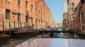 Venice, Italy - June 19, 2016: Riding on the vaporetto to the small canal in Venice stock video