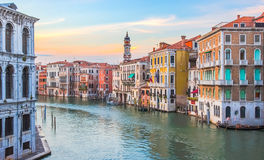 Venice, Italy - June 27, 2014: Sunset in Venice, Italy - view on colorful houses on Grand Canal Royalty Free Stock Images