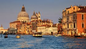 Venice View of Canale Grande. Venice, Italy - June 06, 2017.: Tourists visit in Venice View of Canale Grande in, Venice Italy stock photos