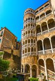 VENICE / ITALY - JUNE 20, 2017: View of Palazzo Contarini del Bo. Volo with multi arch spiral staircase. The staircase leads to an arcade, providing an Royalty Free Stock Photo