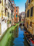 Venice - View from water canal to old buildings Stock Photo