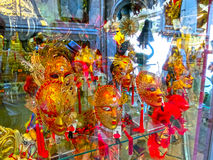 Venice, Italy - June13, 2015: Venetian carnival masks, souvenir shop on a street Royalty Free Stock Photography