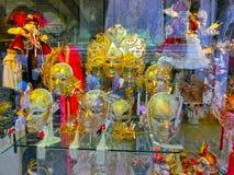 Venice, Italy - June13, 2015: Venetian carnival masks, souvenir shop on a street Stock Photos