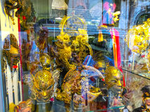 Venice, Italy - June13, 2015: Venetian carnival masks, souvenir shop on a street Royalty Free Stock Photos