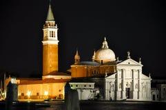 VENICE-ITALY 22: Kyrka av San Giorgio Maggiore på natten på Juli 22,2013 i Venedig, Italien. Fotografering för Bildbyråer