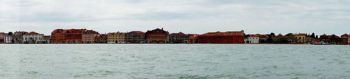 Venice Italy, Lido island. Old buildings and cathedral on the Lido Island in Venice , Italy. Europe. Panoramic photography Stock Image